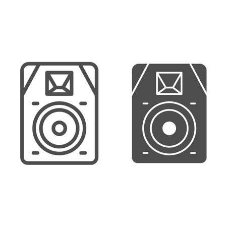 Audio speaker line and solid icon, Sound design concept, sound loud speaker sign on white background, subwoofer music system icon in outline style for mobile concept and web design. Vector graphics.