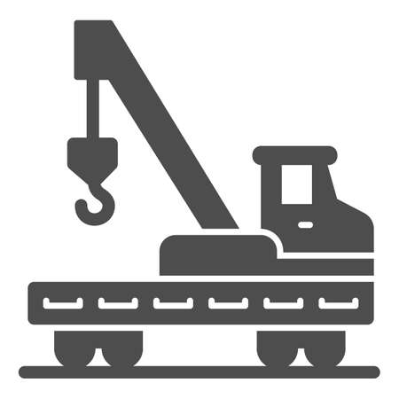 Platform with crane and hook solid icon, heavy equipment concept, lifting equipment sign on white background, lorry platform icon in glyph style for mobile and web design. Vector graphics.