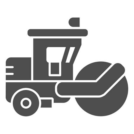 Asphalt roller solid icon, heavy equipment concept, steamroller truck sign on white background, Road roller icon in glyph style for mobile concept and web design. Vector graphics.  イラスト・ベクター素材