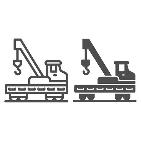 Platform with crane and hook line and solid icon, heavy equipment concept, lifting equipment sign on white background, lorry platform icon in outline style for mobile and web design. Vector graphics.