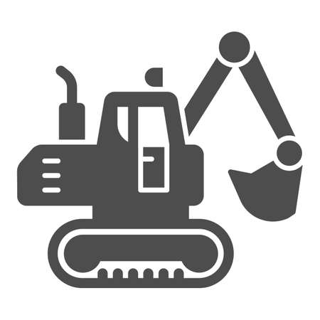 Crawler excavator solid icon, heavy equipment concept, Hydraulic excavator truck sign on white background, digger icon in glyph style for mobile concept and web design. Vector graphics. 向量圖像