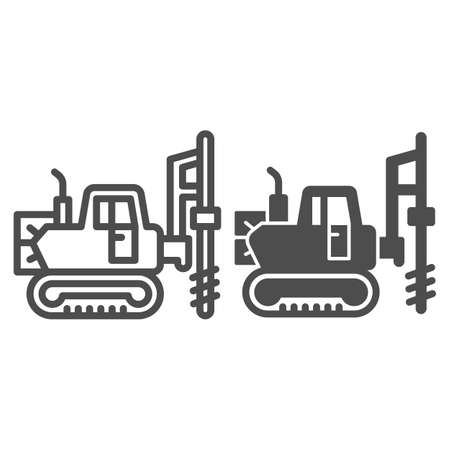 Large excavator with drill line and solid icon, heavy equipment concept, Excavator with hydraulic hammer sign on white background, excavator drill icon in outline style for mobile. Vector graphics.