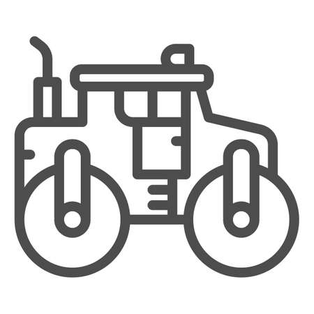Asphalt roller line icon, heavy equipment concept, steamroller truck sign on white background, Road roller icon in outline style for mobile concept and web design. Vector graphics. Vectores