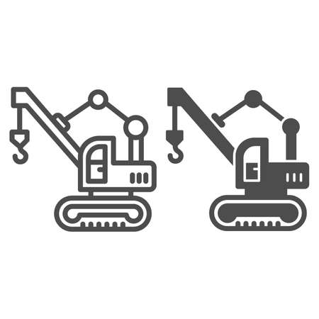 Excavator with crane and hook line and solid icon, heavy equipment concept, Lifting crane sign on white background, Excavator icon in outline style for mobile concept and web design. Vector graphics.