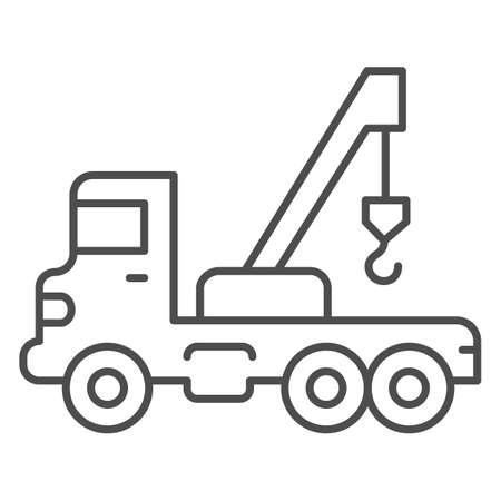 Truck with crane thin line icon, heavy equipment concept, Construction Machine sign on white background, tow truck icon in outline style for mobile concept and web design. Vector graphics.