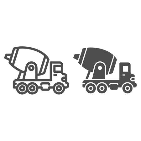 Concrete mixing truck line and solid icon, heavy equipment concept, Construction machine sign on white background, concrete mixer icon in outline style for mobile concept, web design. Vector graphics.