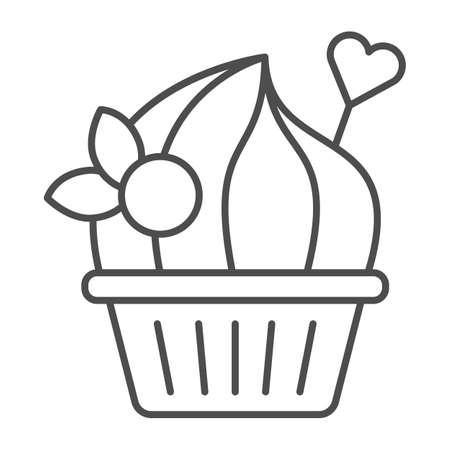 Marshmallow cake with berries thin line icon, Birthday cupcake concept, dessert with toppings sign on white background, muffin with cream and heart decor icon in outline style. Vector graphics.