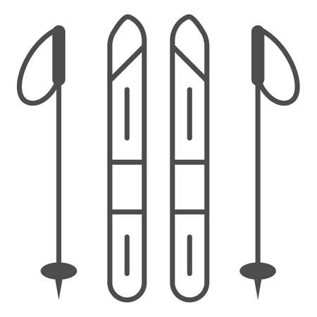 Skis and ski poles thin line icon, World snow day concept, Ski and sticks sign on white background, Ski equipment icon in outline style for mobile concept and web design. Vector graphics.