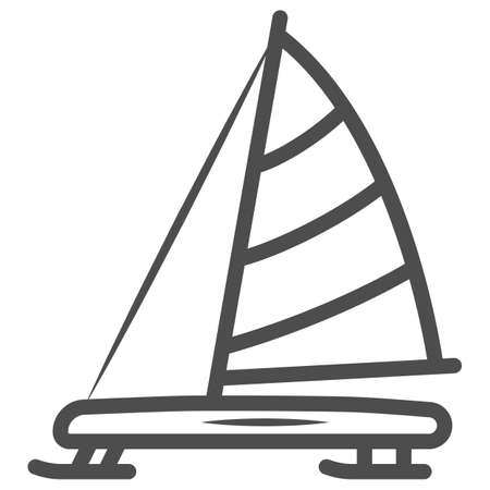Iceboat line icon, World snow day concept, ice breaker ship sign on white background, ice yacht icon in outline style for mobile concept and web design. Vector graphics.
