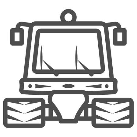 Snowblower line icon, World snow day concept, snow professional cleaning machine sign on white background, snow plow tractor icon in outline style for mobile and web. Vector graphics.