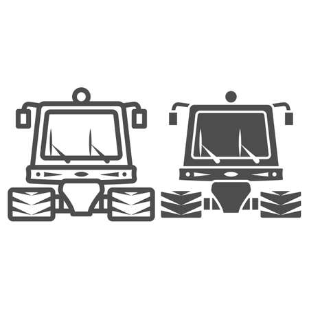 Snowblower line and solid icon, World snow day concept, snow professional cleaning machine sign on white background, snow plow tractor icon in outline style for mobile and web. Vector graphics