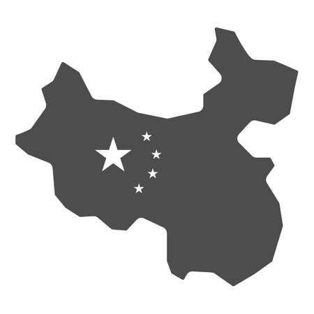 Map of China solid icon, chinese mid autumn festival concept, country sign on white background, state and its flag icon in glyph style for mobile concept and web design. Vector graphics.