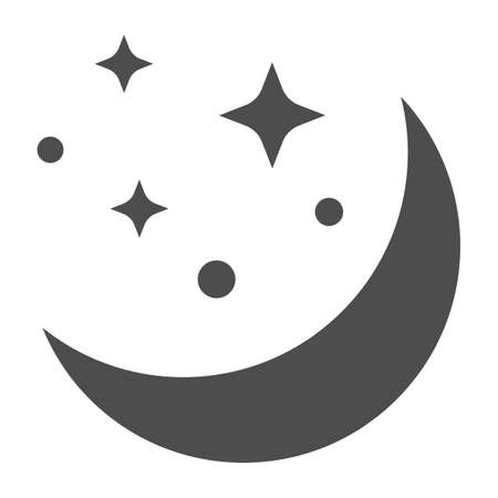 Moon and stars solid icon, astrology concept, night sky sign on white background, Moon in starry sky icon in glyph style for mobile concept and web design. Vector graphics.