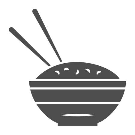 Rice bowl and chopsticks solid icon, chinese or japanese cuisine concept, plate of food sign on white background, meal and chopstick icon in glyph style for web design. Vector graphics.