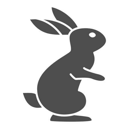 Hare solid icon, wild animal concept, rabbit on back paws sign on white background, cute bunny from forest icon in glyph style for web design. Vector graphics.