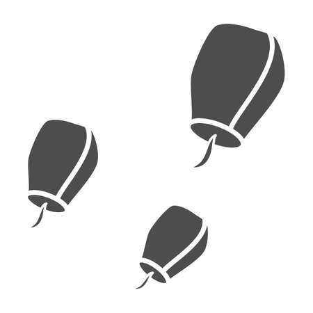 Chinese lantern solid icon, chinese mid autumn festival concept, flying paper flashlight sign on white background, sky lanterns from china icon in glyph style. Vector graphics.