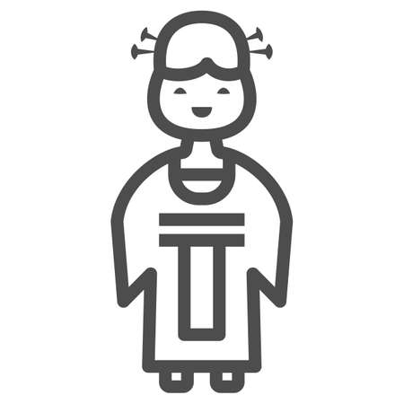 Chinese lady line icon, chinese mid autumn festival concept, woman in traditional costume sign on white background, girl from china icon in outline style for web design. Vector graphics. Stock Illustratie