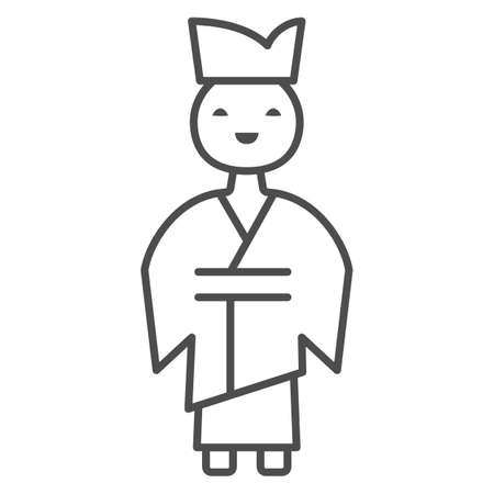 Chinese man thin line icon, chinese mid autumn festival concept, boy in traditional costume sign on white background, male from china icon in outline style for web design. Vector graphics. Stock Illustratie