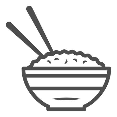 Rice bowl and chopsticks line icon, chinese or japanese cuisine concept, plate of food sign on white background, meal and chopstick icon in outline style for web design. Vector graphics. Stock Illustratie