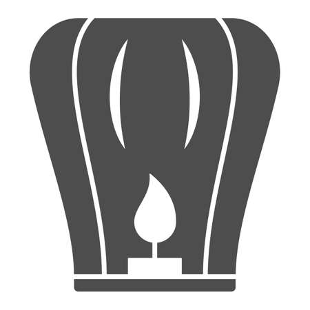 Chinese lantern solid icon, chinese mid autumn festival concept, flying paper flashlight sign on white background, lantern with candle from china icon in glyph style. Vector graphics. Stock Illustratie