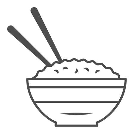 Rice bowl and chopsticks thin line icon, chinese or japanese cuisine concept, plate of food sign on white background, meal and chopstick icon in outline style for web design. Vector graphics.