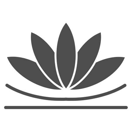 Lotus flower solid icon, chinese mid autumn festival concept, lotus on water lily sign on white background, blooming flower from china icon in glyph style for web design. Vector graphics. Stock Illustratie