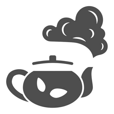 Teapot with tea solid icon, chinese mid autumn festival concept, boiling kettle sign on white background, kettle and steam icon in glyph style for web design. Vector graphics.