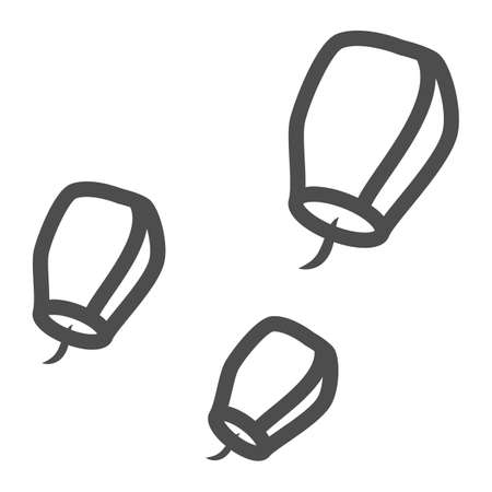 Chinese lantern line icon, chinese mid autumn festival concept, flying paper flashlight sign on white background, sky lanterns from china icon in outline style. Vector graphics. Stock Illustratie