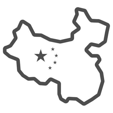 Map of China line icon, chinese mid autumn festival concept, country sign on white background, state and its flag icon in outline style for mobile concept and web design. Vector graphics.