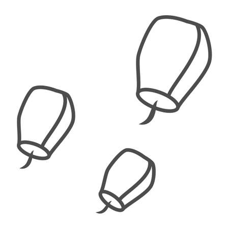 Chinese lantern thin line icon, chinese mid autumn festival concept, flying paper flashlight sign on white background, sky lanterns from china icon in outline style. Vector graphics.