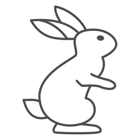 Hare thin line icon, wild animal concept, rabbit on back paws sign on white background, cute bunny from forest icon in outline style for web design. Vector graphics.