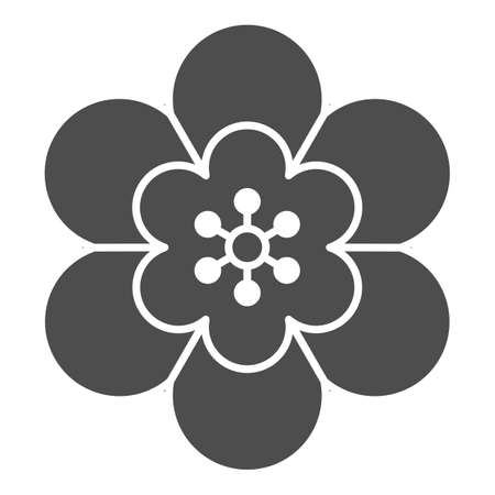 Flower solid icon, chinese mid autumn festival concept, beautiful plant sign on white background, blooming flower icon in glyph style for web design. Vector graphics.