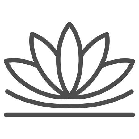Lotus flower line icon, chinese mid autumn festival concept, lotus on water lily sign on white background, blooming flower from china icon in outline style for web design. Vector graphics. Stock Illustratie