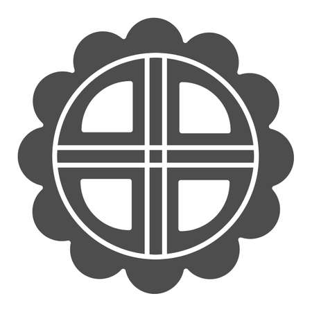 Mooncake solid icon, chinese mid autumn festival concept, moon cake sign on white background, pie in shape of flower from china icon in glyph style for web design. Vector graphics.