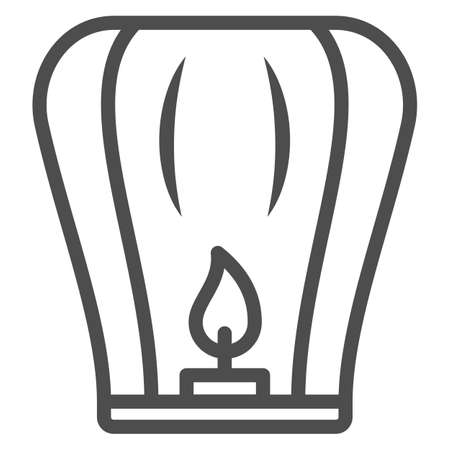 Chinese lantern line icon, chinese mid autumn festival concept, flying paper flashlight sign on white background, lantern with candle from china icon in outline style. Vector graphics.