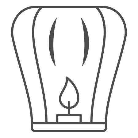 Chinese lantern thin line icon, chinese mid autumn festival concept, flying paper flashlight sign on white background, lantern with candle from china icon in outline style. Vector graphics. Stock Illustratie