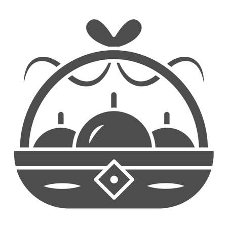 Basket with apples solid icon, chinese mid autumn festival concept, harvest sign on white background, fruit basket from china icon in glyph style for web design. Vector graphics.