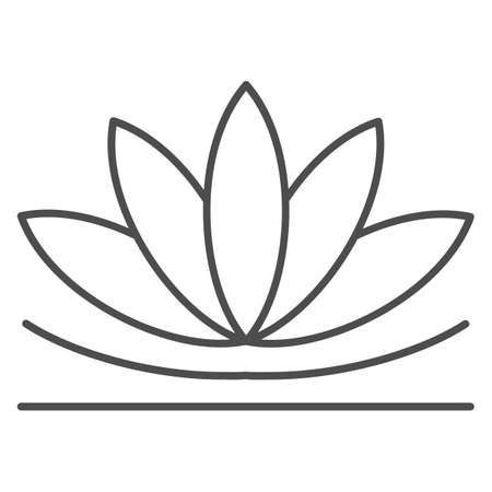 Lotus flower thin line icon, chinese mid autumn festival concept, lotus on water lily sign on white background, blooming flower from china icon in outline style for web design. Vector graphics.
