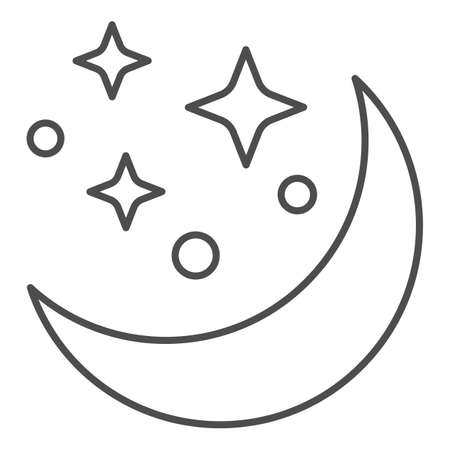 Moon and stars thin line icon, astrology concept, night sky sign on white background, Moon in starry sky icon in outline style for mobile concept and web design. Vector graphics.