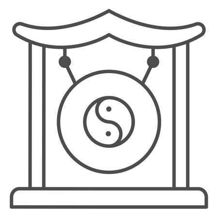 Chinese gong thin line icon, chinese mid autumn festival concept, asian musical instrument sign on white background, traditional gong from china icon in outline style. Vector graphics.