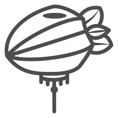 Chinese lantern line icon, chinese mid autumn festival concept, paper lantern with rope sign on white background, flashlight from china icon in outline style for web design. Vector graphics.