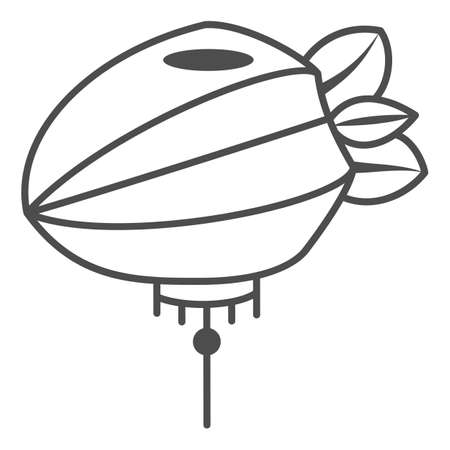 Chinese lantern thin line icon, chinese mid autumn festival concept, paper lantern with rope sign on white background, flashlight from china icon in outline style for web design. Vector graphics.