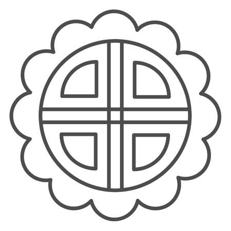 Mooncake thin line icon, chinese mid autumn festival concept, moon cake sign on white background, pie in shape of flower from china icon in outline style for web design. Vector graphics.