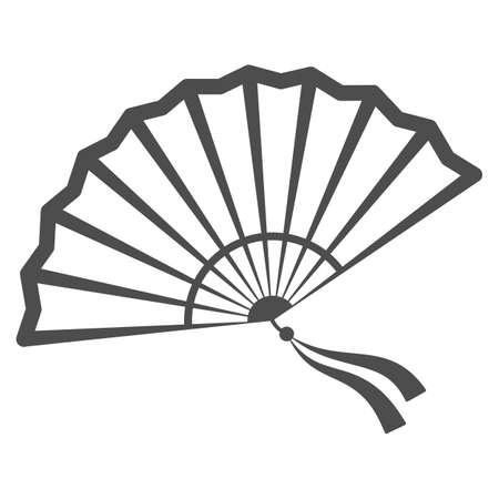 Chinese fan line icon, chinese mid autumn festival concept, traditional fan with ribbons sign on white background, open fan from china icon in outline style for web design. Vector graphics. Stock Illustratie