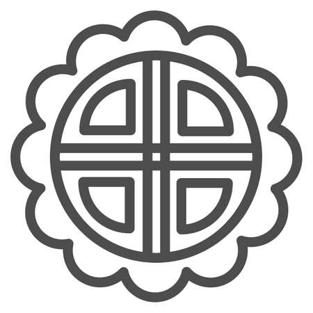 Mooncake line icon, chinese mid autumn festival concept, moon cake sign on white background, pie in shape of flower from china icon in outline style for web design. Vector graphics.