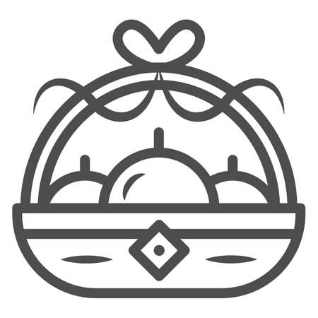 Basket with apples line icon, chinese mid autumn festival concept, harvest sign on white background, fruit basket from china icon in outline style for web design. Vector graphics. Stock Illustratie