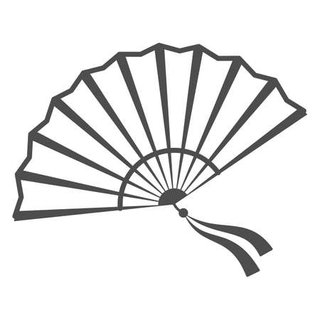 Chinese fan thin line icon, chinese mid autumn festival concept, traditional fan with ribbons sign on white background, open fan from china icon in outline style for web design. Vector graphics.