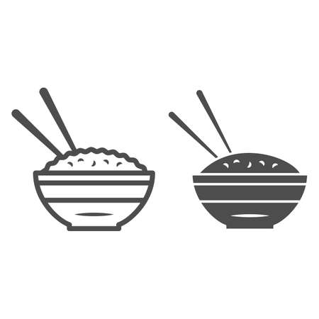 Rice bowl and chopsticks line and solid icon, chinese or japanese cuisine concept, plate of food sign on white background, meal and chopstick icon in outline style for web design. Vector graphics.