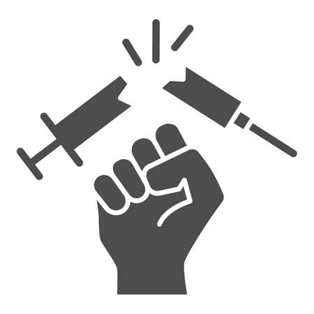 Destroy syringe with drug solid icon, life without addiction concept, anti drug sign on white background, no syringe, stop drugs icon in glyph style for mobile concept. Vector graphics.