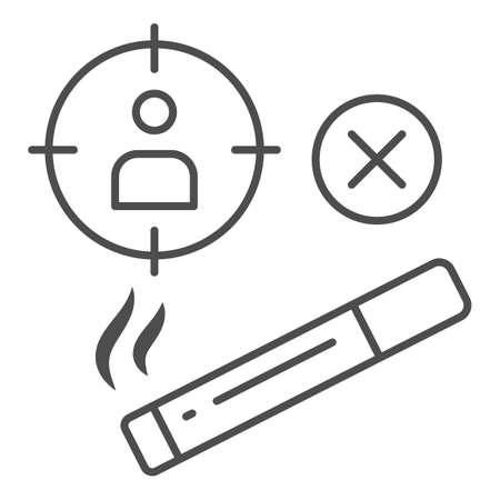 Smoker at gunpoint thin line icon, life without addiction concept, smoking dangerous sign on white background, harm of cigarettes icon in outline style for mobile concept. Vector graphics.